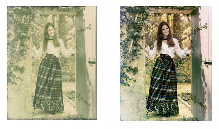 before and after color correction girl in dress
